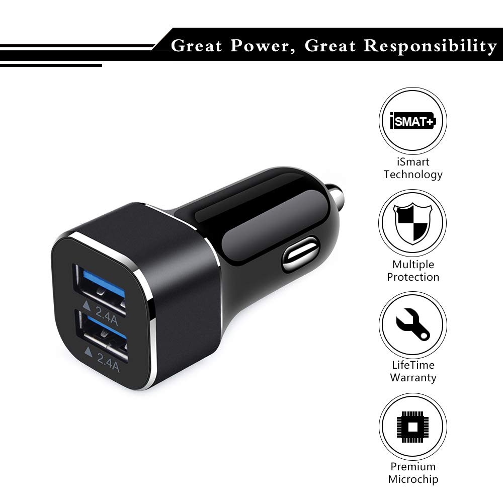 LG CIQILY Mini 4.8A Double USB Fast Cell Phone Car Charger Outlet Flush Compatible for 11//11 Pro Max//Xs Max//Xs//XR//X//8//7//6S//6 Plus Moto Android Car Charger Adapter Dual Smart Ports Samsung