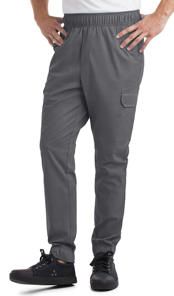Men's Stretch Jogger Chef Pants (XS-3X, 2 Colors) (Medium, Pewter)