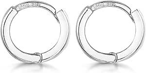 Amberta Fine 925 Sterling Silver Pair of Round Hinged Hoops - Sleeper Earrings