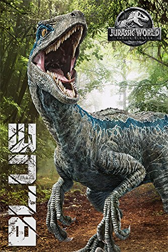 Jurassic World: Fallen Kingdom - Movie Poster/Print (Blue/Dinosaur) (Size: 24