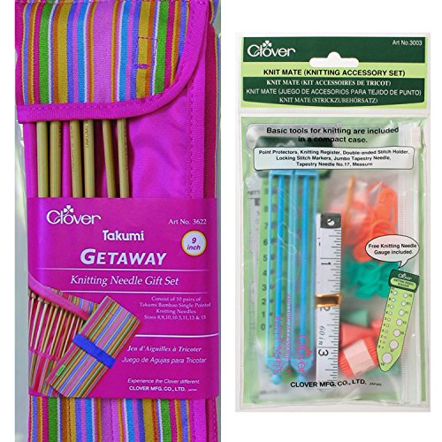 TwiceBooked Clover Takumi Knitting Needles and Accessories Gift Bundle – 7 9 Needles in Case Plus Accessory Kit