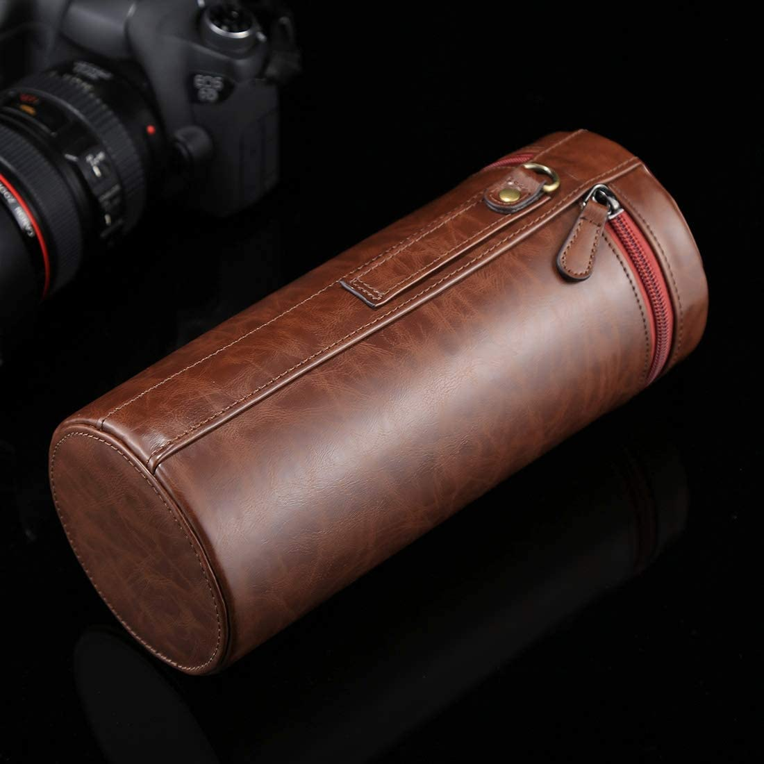 Size: 24.510.510.5cm Black Color : Black CHENYANTUB Camera Accessories Extra Large Lens Case Zippered PU Leather Pouch Box for DSLR Camera Lens
