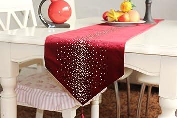 Superior SKL Luxury Velvet Table Runner With Rhinestones (Red, 32cm*200cm)