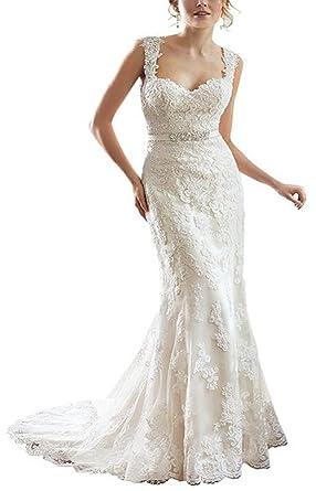YIPEISHA Lace V-Back Sweetheart Neckline Cap-Sleeves Wedding Dress ...