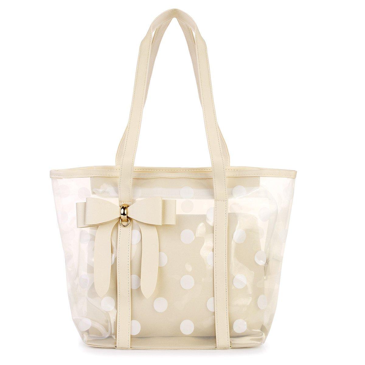 Women's Clear Tote Bags Shoulder Handbag Beach bag Shopping Bag (beige)