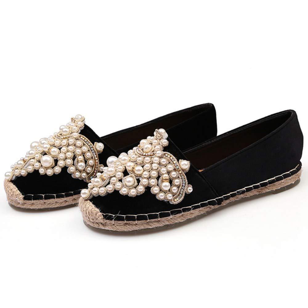 YOPAIYA Chaussures De Pêcheur Velours Perlé Noir Chaussures De Pêcheur Femmes Perles en Métal Espadrilles Exquises Appartements De Couture Femme Mocassins Footware
