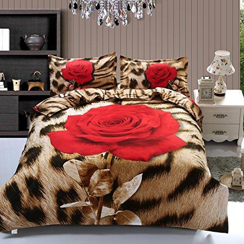 Suncloris,3d Leopard Rose,Queen Size,4pc Bedding Sheet Sets,1Duvet Cover,1Flat Sheet,2 Pillowcase(no Comforter inside) Leopard Comforter Sets