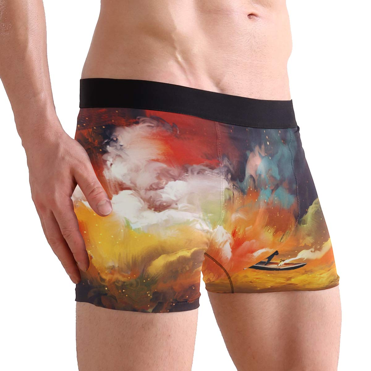 Man On Boat Floating Nebula Cloud Boxer Briefs Mens Underwear Pack Seamless Comfort Soft