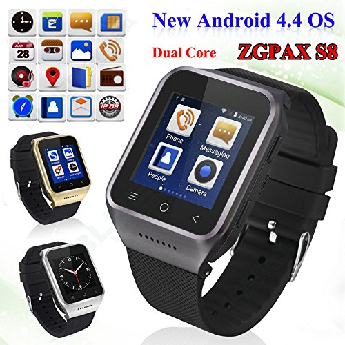 ZGPAX S8 Smartphone Bluetooth Reloj Inteligente Android 4.4 MTK6572 Dual Core GPS 2.0MP Cámara WCDMA WiFi MP3 MP4 Smartwatch U8 PK Q18: Amazon.es: ...