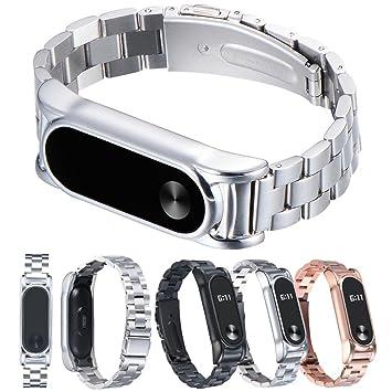Reloj inteligente de pulsera, para deporte, smartwatch para Xiaomi Mi Band 2, de acero inoxidable, pulsera de metal ultrafina, color Oro Rosa: Amazon.es: ...