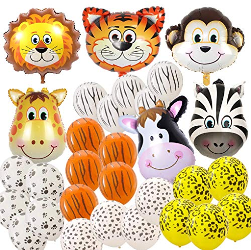 Balloon Zoo - Jungle Safari Animal Balloons 31 Pack Safari Zoo Animals Party Supplies Favors for Jungle Birthday Party Baby Shower Halloween Christmas Decorations
