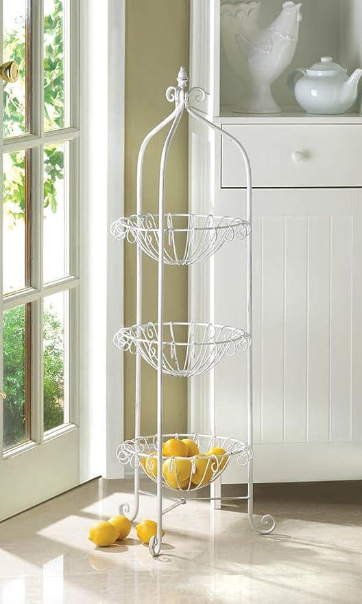 3 Tier Kitchen Corner Basket Floor Stand Storage And Decor, White