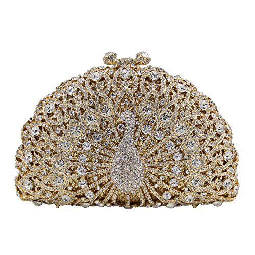 Evening Peacock Clutch Clutches ABGold Purse Bag Crystal Diamonds Banquet Evening Giltter Women Handbag EXzydq4wz