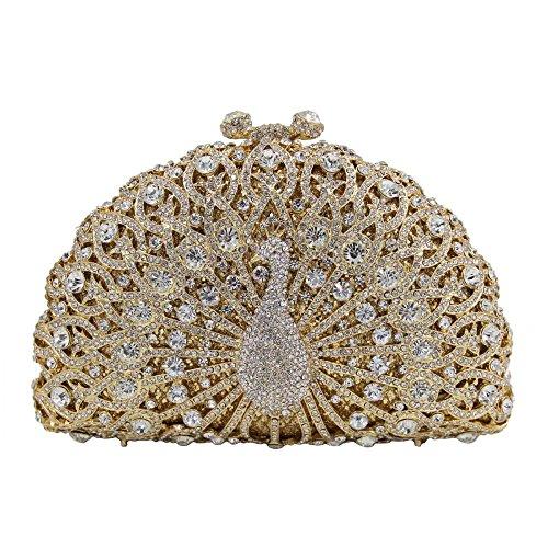 Evening Handbag Clutches Giltter Crystal Women Banquet ABGold Clutch Bag Diamonds Peacock Evening Purse PCXqywf