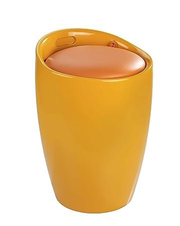 Badhocker kunststoff  WENKO 20626100 Hocker Candy Orange - Badhocker, mit abnehmbarem ...