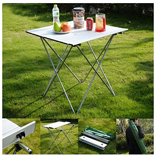 MD Group Outdoor Table Foldable Aluminum Roll Up Light-weight Portable Camping