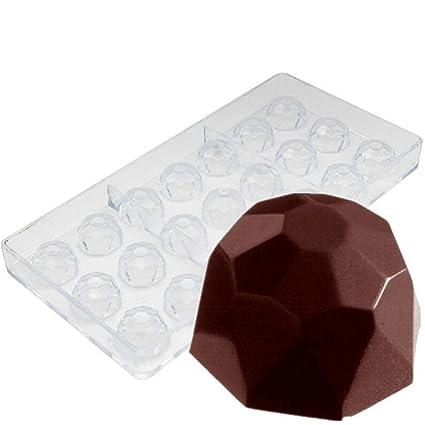 Molde de policarbonato con 21 agujeros con forma de diamante, para hacer bombones o cubitos