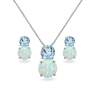 aaa4a24a4 Sterling Silver Blue Topaz & Simulated Opal Double Round Stud Earrings & Necklace  Set