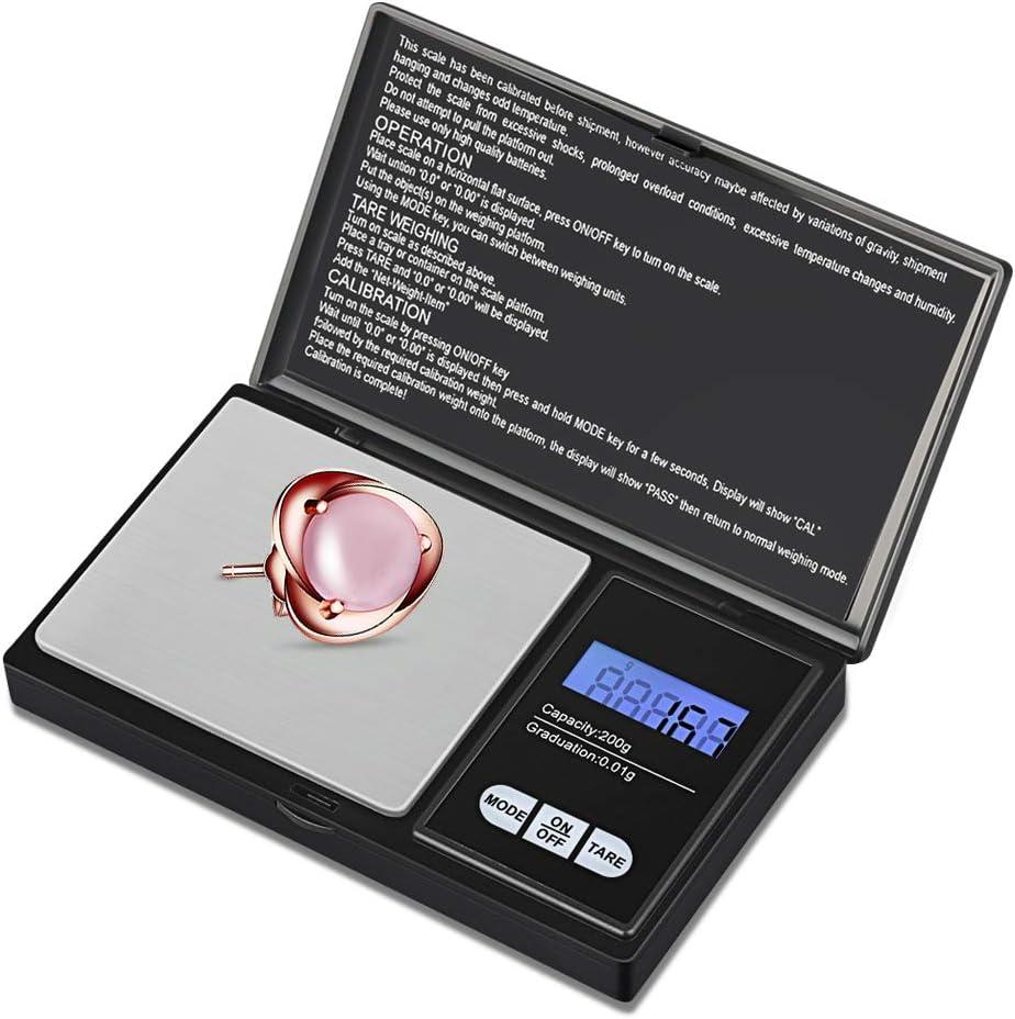 Balance de Pr/écision 0.01g Balance de Poche avec /Écran LCD Sensible Noir Petite Balance de Bijoux en Acier Inoxydable Balance de Pr/écision 200g//0.01g Zorara Balance de Cuisine