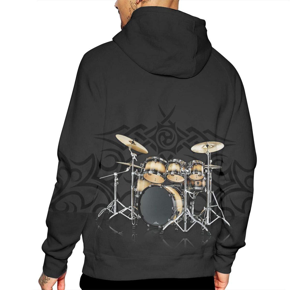 Free Golden Drum Mans Long Sleeve Hoodie Casual Pocket Hooded Sweatshirt
