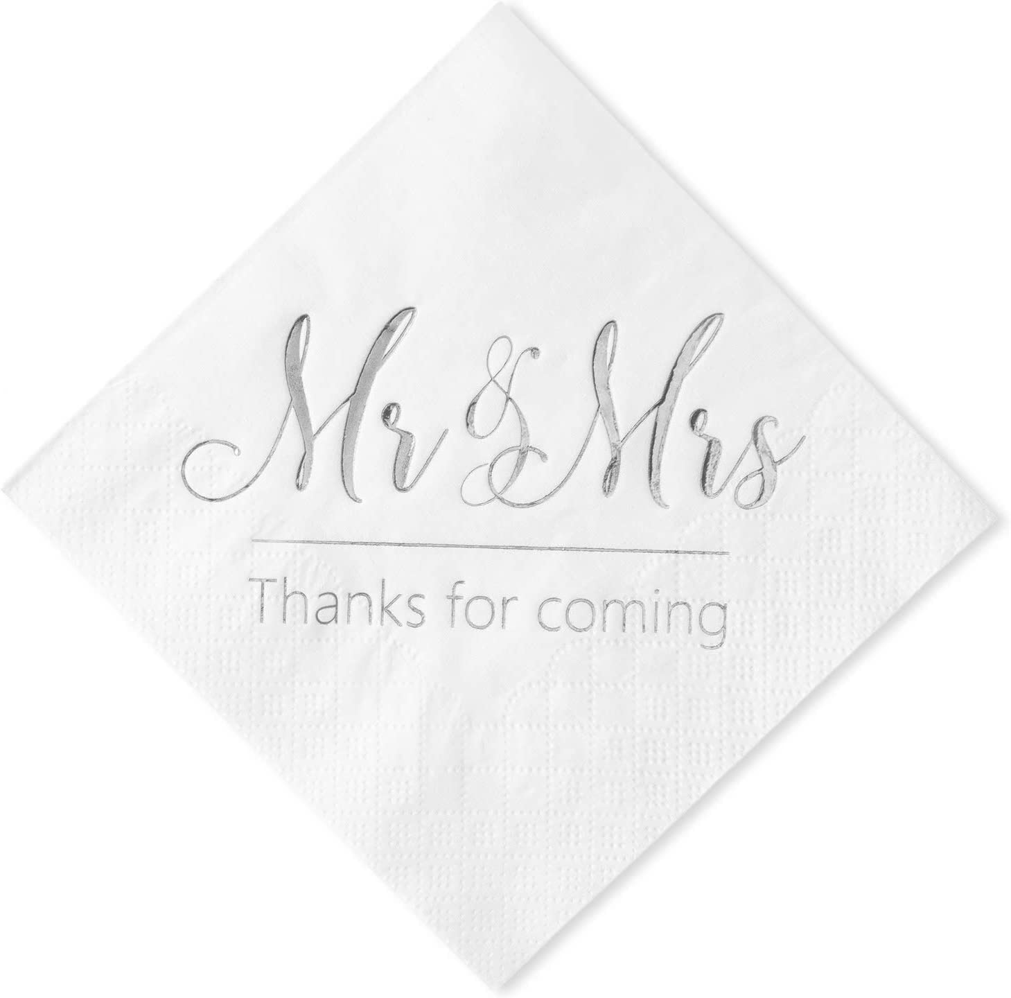 Crisky Wedding Napkins Mr Mrs Silver Cocktail Beverage Dessert Napkins for Wedding Tabel Decoration Engagement Party Supplies, 100 Pcs, 3-Ply