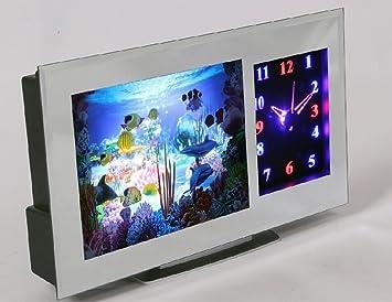 Premium lámpara LED Acuario & Reloj 3D – Habitación de los Niños Decoración Acuario Peces –