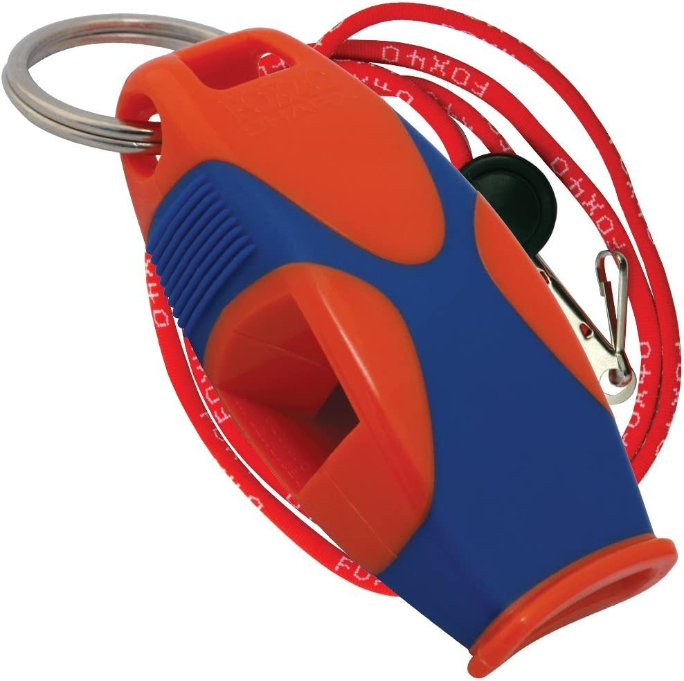 Fox 40 Sharx Pealess Whistle with Breakaway Lanyard - Orange/Blue