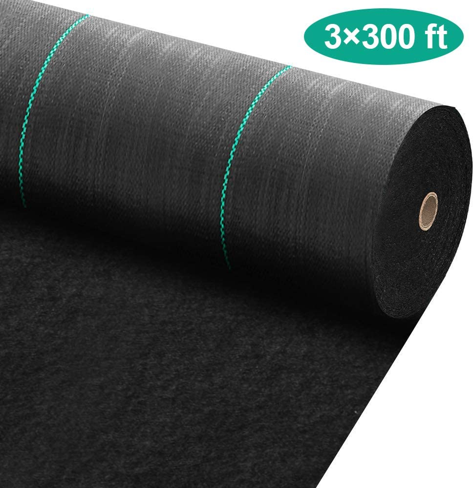 Amagabeli 3ft x 300ft Weed Barrier Landscape Fabric 5.8oz Heavy Duty Ground Cover Weed Cloth Geotextile Fabric Durable Driveway Cover Garden Lawn Fabric Outdoor Weed Mat