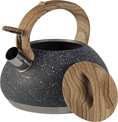 Top Quality Kettle with A Whistle of 2.7 L Made of High Quality Stainless Steel Capable and Practical (Gray Marble)