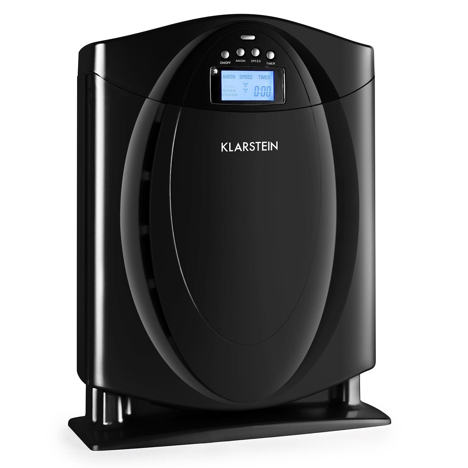 KLARSTEIN Grenoble 4-in-1 Air Purifier with HEPA Filter Switchable Ionizer Allergen, Odors, Smoke, Dust Remover Quiet Operation LCD Display Memory function Black