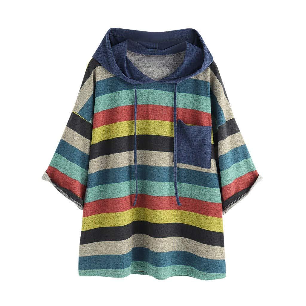 Women O-Neck Sweatshirt Long Sleeve Pocket Tops Loose Blouse Hooded Blue