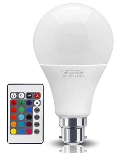 Super Remote Controlled Colour Changing 7W Led Light Bulb Bc B22 A80 With Wiring Cloud Oideiuggs Outletorg