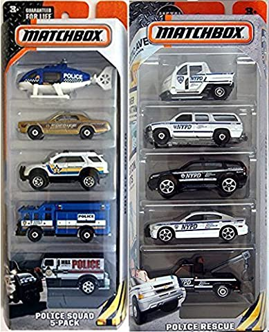 Matchbox Police Car set 10-Car Pack Police Squad & NYPD Police Rescue chopper / squad cars / wagons / Sheriff - 1977 Gmc Van