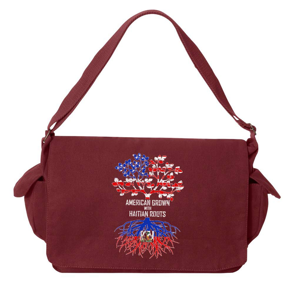 Tenacitee American Grown with Haitian Roots Khaki Green Raw Edge Canvas Messenger Bag