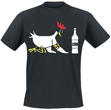 ff15d2e3563a59 Auch ein blindes Huhn findet mal ein Korn T-Shirt schwarz M  Amazon ...