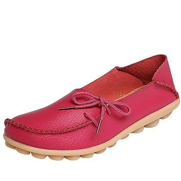 Fuxitoggo Mocasines de Cuero de Confort para el Trabajo para Mujer Mocasines Planos Zapatillas (Color : Style 1-Rose Red, tamaño : 2 UK): Amazon.es: Hogar