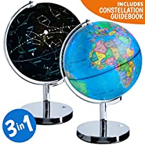 USA Toyz LED Globe of the World – 3 in 1 World Globe Constellation Light Globe + Earth Globe Nightlight in Interactive Globe of the World with Stand