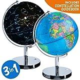 USA Toyz Light Globe LED Globe of The World 3 in 1 World Globe w/ Earth Globe Constellation Nightlight in Interactive Globe of The World with Stand