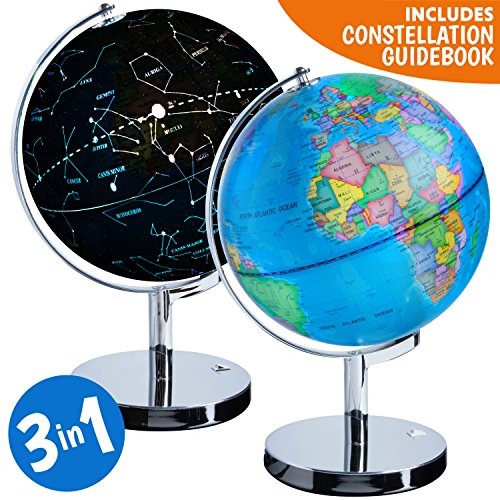 3-in-1 Illuminated World Globe - Nightlight and Constellation Globe for Kids with World Map Interactive App and Illustrated Constellation Map