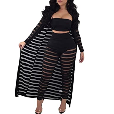 91b2369267 Women's Sexy Strapless Pants Cardigan Stripe Mesh Hollow Out 3 Pieces Set  Outfits