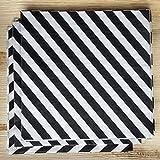 Efavormart Diagonal Striped Restaurant Party Beverage Paper Napkins - Black and White - 100 PSC