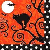 "Amscan Frightfully Fancy Halloween Disposable Beverage Paper Napkins, Black/Orange, 5"" x 5"""