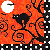 "Amscan Frightfully Fancy Halloween Disposable Beverage Paper Napkins, Black/Orange, 5"" x 5"""