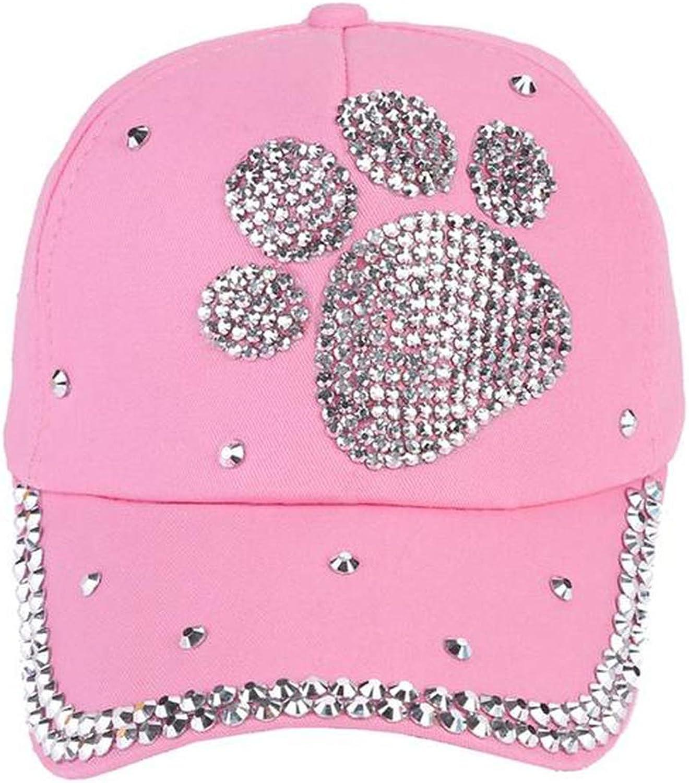 Fashion Casual Children Baseball Cap Girls Boys Plum Blossom Paw Heart Print Caps Diamond Snapback Hat
