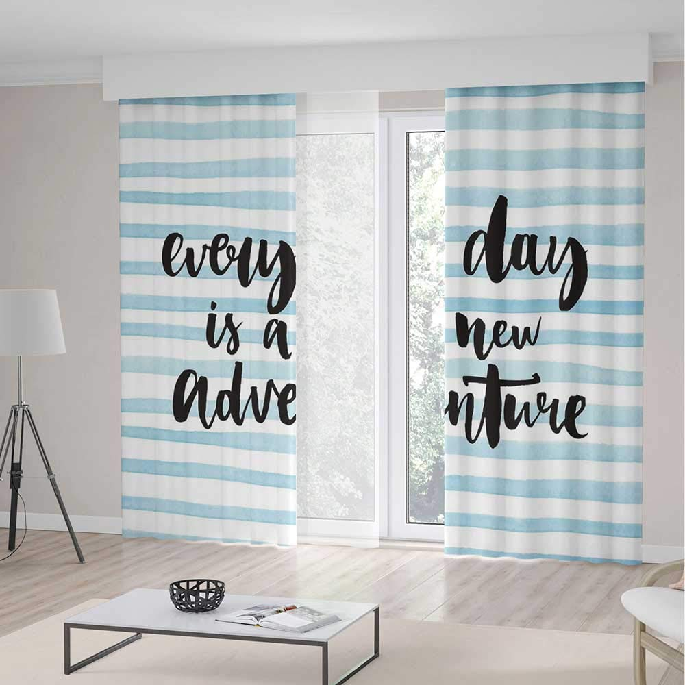 Adventure Decor Curtains,Every Day is a New Adventure Quote Inspirational Things About Life Artwork,Window Drapes 2 Panel Set for Living Room Bedroom,104 W 95 L,Baby Blue Black