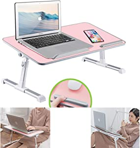 RiwiR Lap Desk Pink for 17 inch Foldable Stand Portable Laptop Desk Adjustable Height with Tilt Angle Bed Sofa Tray Folding Table for Student Home Office Work Hospital (Large Size)