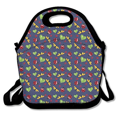 Dragonfly Leaf Heart Ladybugs Lunch Bag Tote Handbag Lunchbox For School Work Outdoor