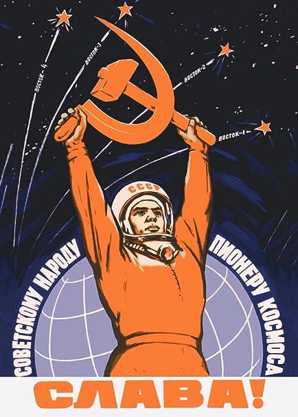 World of Art - Póster con propaganda del servicio espacial de la URSS, diseño de aprox. 1959