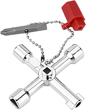 Multi-functional 4 in 1 Cross Key Wrench Hand Tool Electrician Plumber Valve