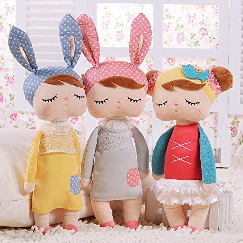 Cute Metoo Angela Rabbit Dolls Cartoon Animal Design Stuffed Babies Plush Doll for Kids Birthday / Christmas Gift Children Toy (Grey)